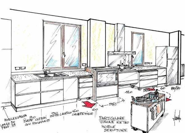 Disegno prospettico di cucina con basi contenitore a carrello