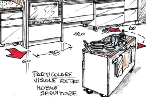 Cucina con carrelli - contenitori sottopiano
