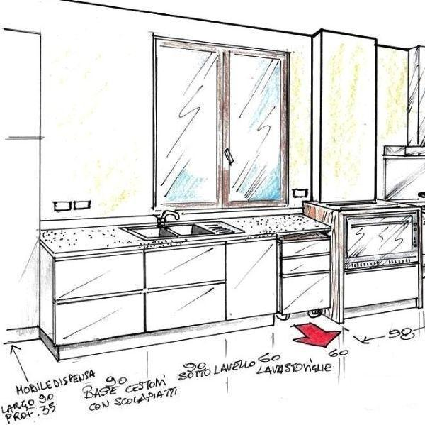 Zona lavaggio di cucina con basi trasportabili su rotelle