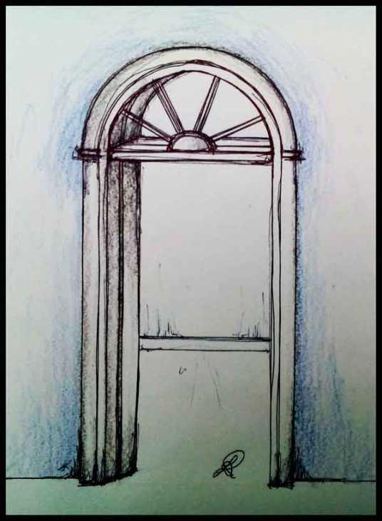 Disegno di porta interna ad arco