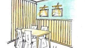 Perline in legno: rivestimento di una parete angolare
