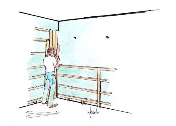 Fissaggio a muro delle perline su griglia di listelli