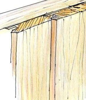 Disegno di perline maschio e femmina  per il rivestimento ligneo a parete