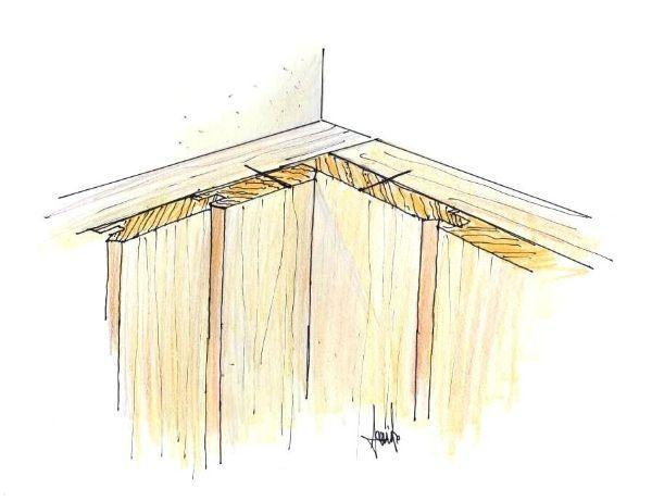 perline in legno rivestimento di una parete angolare