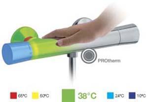 Immagine termografica di un miscelatore: la superficie esterna non si surriscalda, prevenendo le ustioni accidentali. Dal sito dell'Azienda Alpi Rubinetterie.
