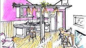 Struttura a T in cartongesso per dividere cucina e soggiorno
