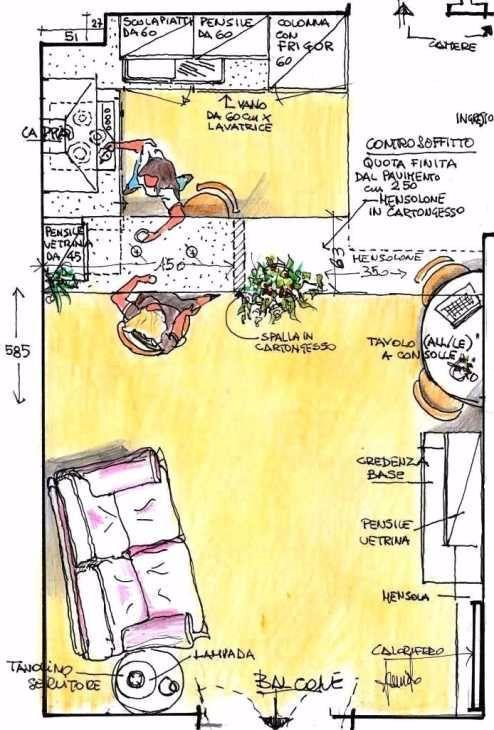 Pianta di cucina e soggiorno con divisorio trasversale in cartongesso