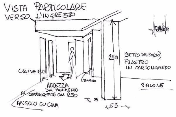 Soggiorno e angolo cottura con divisorio in cartongesso for Muretto divisorio ingresso soggiorno