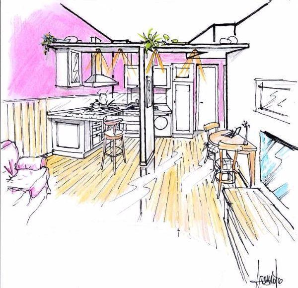 soggiorno e angolo cottura con divisorio in cartongesso - Esempi Cartongesso Cucina Soggiorno