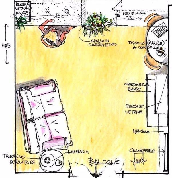 Living distinto da cucina mediante struttura in cartongesso