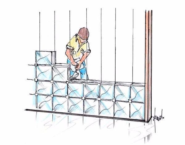 Disegno parete di vetrocemento in fase di costruzione