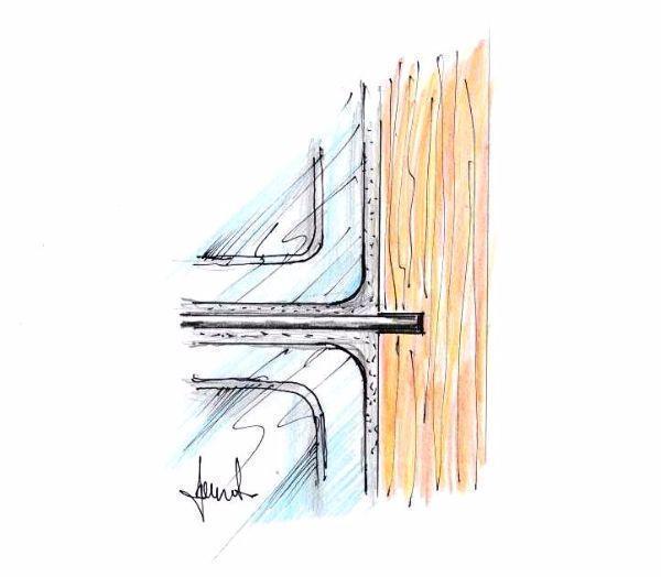 Tondini alloggiati nel telaio della parete di vetrocemento