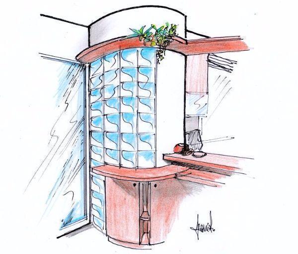Disegno di parete divisoria curva in vetrocemento