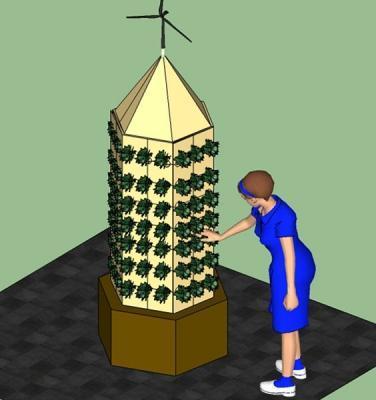 Una idea di orto verticale stimolato da energia eolica