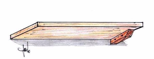 Mensola fissata a muro con sostegni a 45°