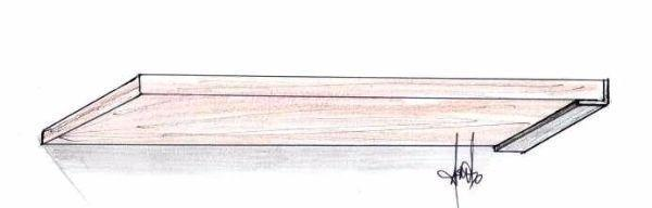 Mensola montata a muro con supporti metallici a L