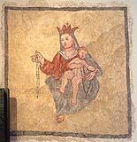 Immagine della Madonna con Bambino ora conservata presso il museo di Caporetto (Slovenia). Si noti lo stile molto ingenuo e popolaresco.