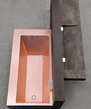 Vasca da bagno in rame Shinè di Mario Mazzer