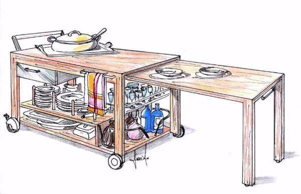 Carrello portavivande trasformabile in tavolino