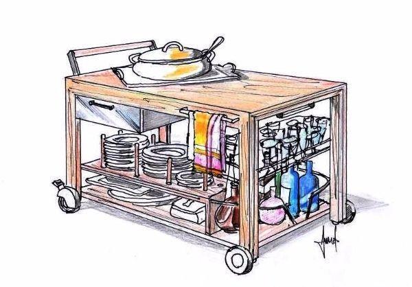 Carrello portavivande trasformabile in tavolino - Carrello portavivande pieghevole ...