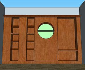 Rivestimento parete con boiserie in legno