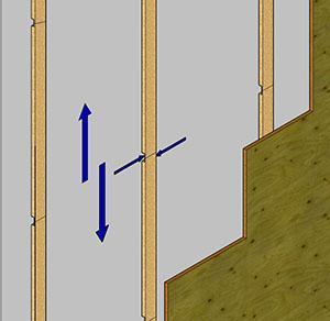 Particolare listelli di supporto per rivestimento pareti