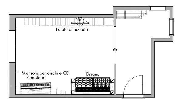 La nuova disposizione dei mobili del soggiorno.