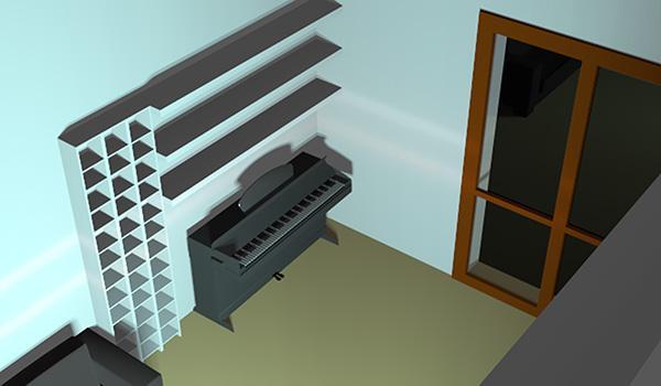 La sistemazione definitiva dell'angolo musica, con il pianoforte elettrico e la composizione di mensole per cd, dvd e dischi in vinile.