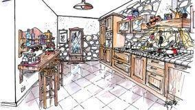 Cucina in arte povera: soluzione progettuale