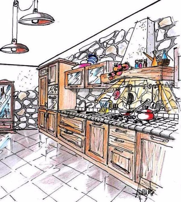 Cucina arte povera su parete con pietre a vista