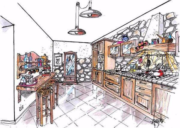 Disegno prospettico globale di cucina in arte povera