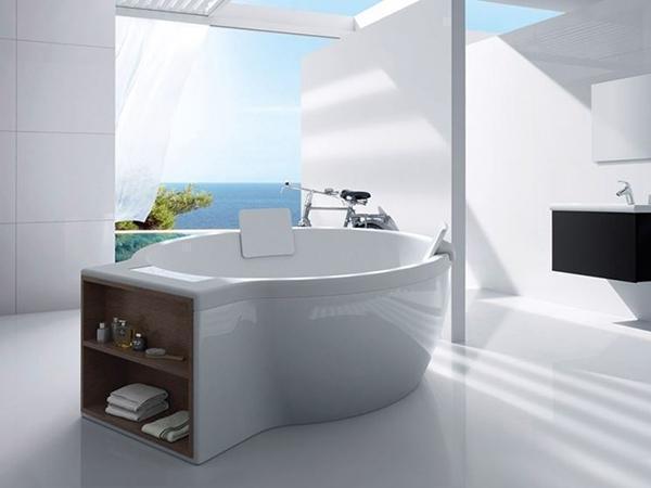 Vasca da bagno circolare con piano d'appoggio