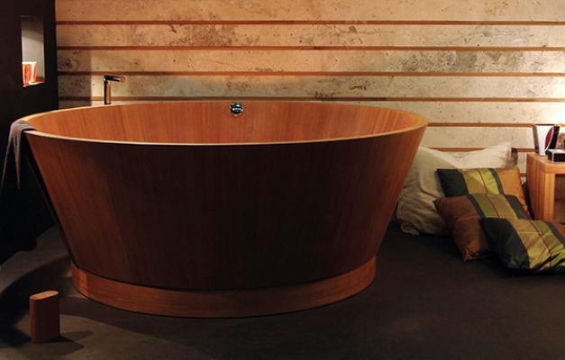 Vasca da bagno circolare in legno