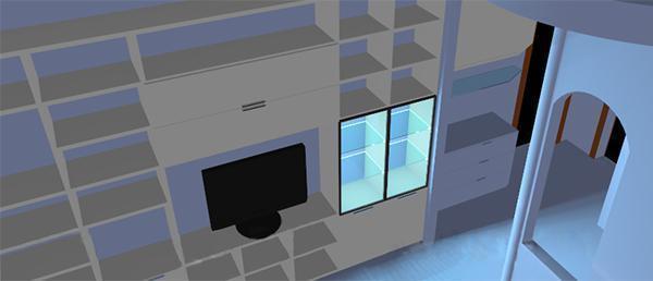 Progettazione libreria: rendering della nuova parete attrezzata