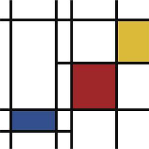Il progetto della parete attrezzata si ispira ai quadri di Mondrian.