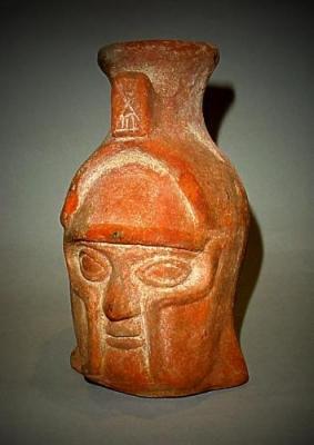 Autentica testa di guerriero etrusco, commercializzata da Mutina Ars Antiqua.