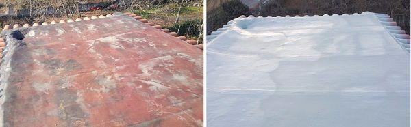Prima e dopo l'impermeabilizzazione con il poliuretano a spruzzo di Intpoliuretani