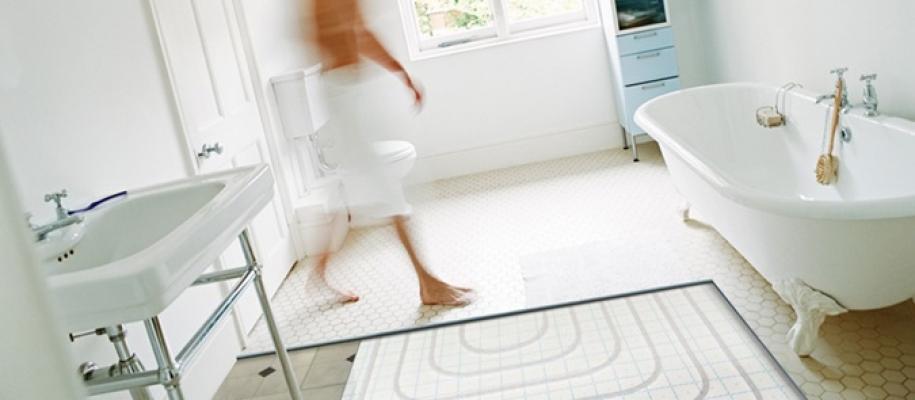 Esempio di posa pavimento radiante in un ambiente bagno di Uponor
