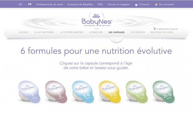 Capsule latte artificiale per biberon BabyNes di Nestlè