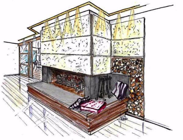 Soluzione progettuale per camino in pietra nel living di casa