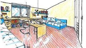 Zona notte in mansarda: idea di progetto