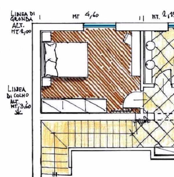 Zona notte in mansarda idea di progetto for Camera da letto matrimoniale in mansarda