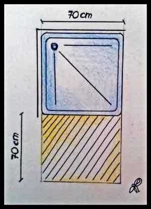 Dettaglio distanza utile di passaggio fronte doccia
