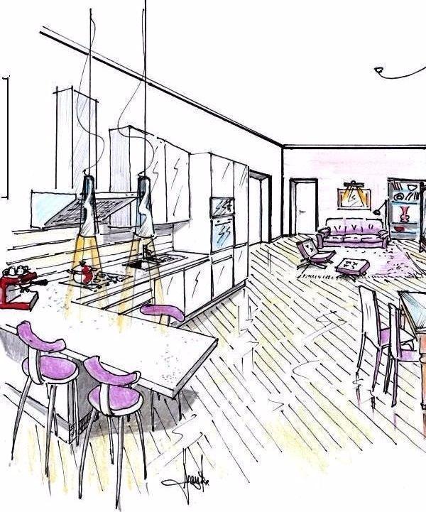 Cucina con bancone in zona giorno open space