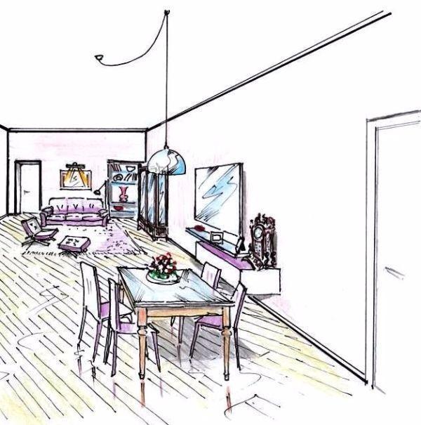Disegno di salotto e pranzo in zona giorno open space