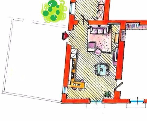 Zona giorno open space: grafico in pianta