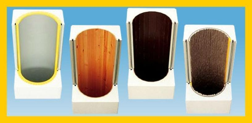 Cassaforme per colonne circolari con texture particolari. Azienda Arbloc.