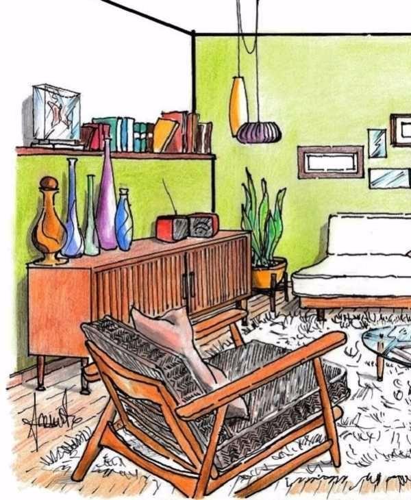 Controparete arredata e poltrona relax per il living vintage