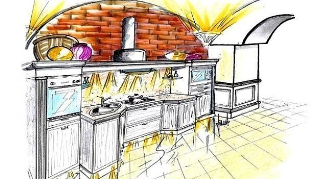 Cucina senza pensili su parete ad arco - Cucine senza pensili ...