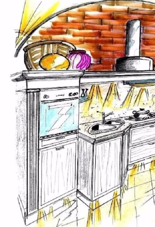 Cucina senza pensili su parete ad arco